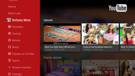 Youtube For Android Tv pc screenshot 1